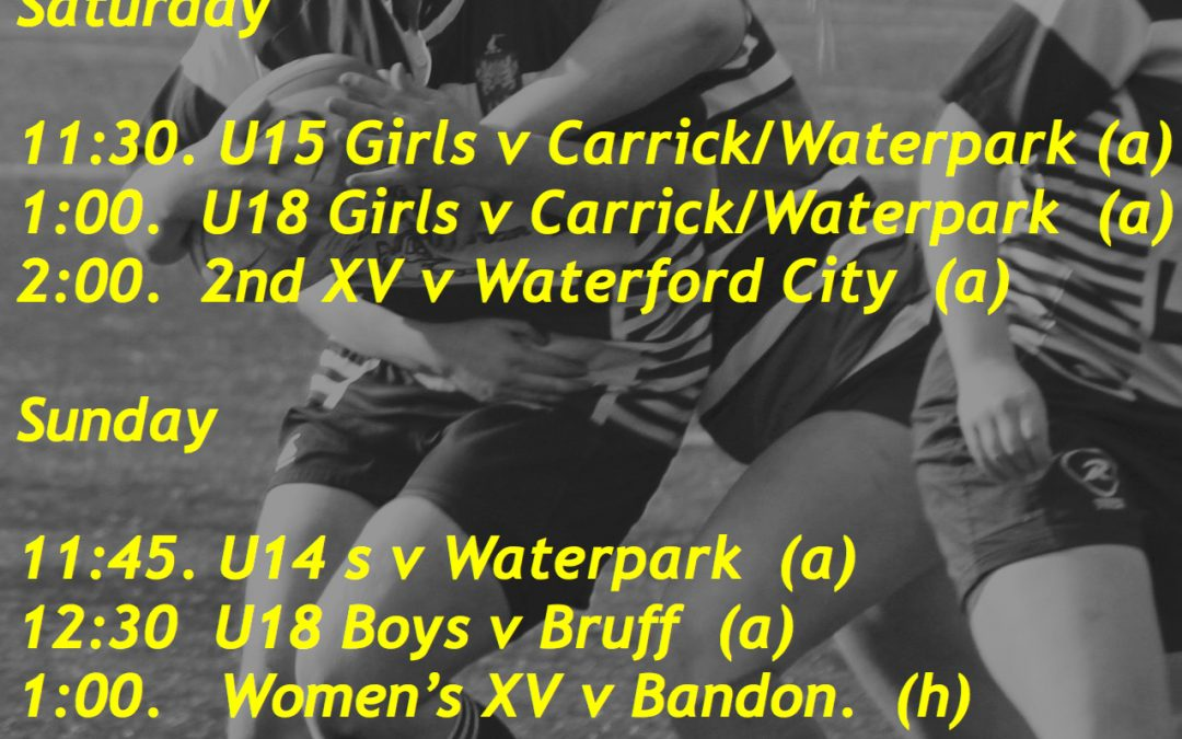 Weekend Fixtures for Thurles RFC 24/5/6 Nov