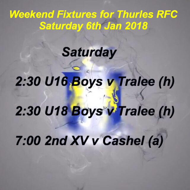 Weekend Fixtures for Sat 6th Jan 2018