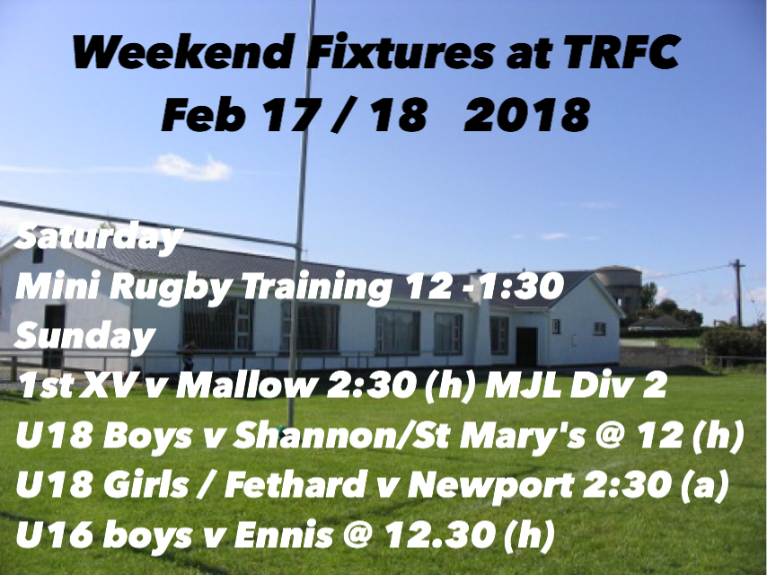 Weekend Fixtures for TRFC